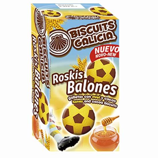 galletas en forma de balón de fútbol con chocolate y miel