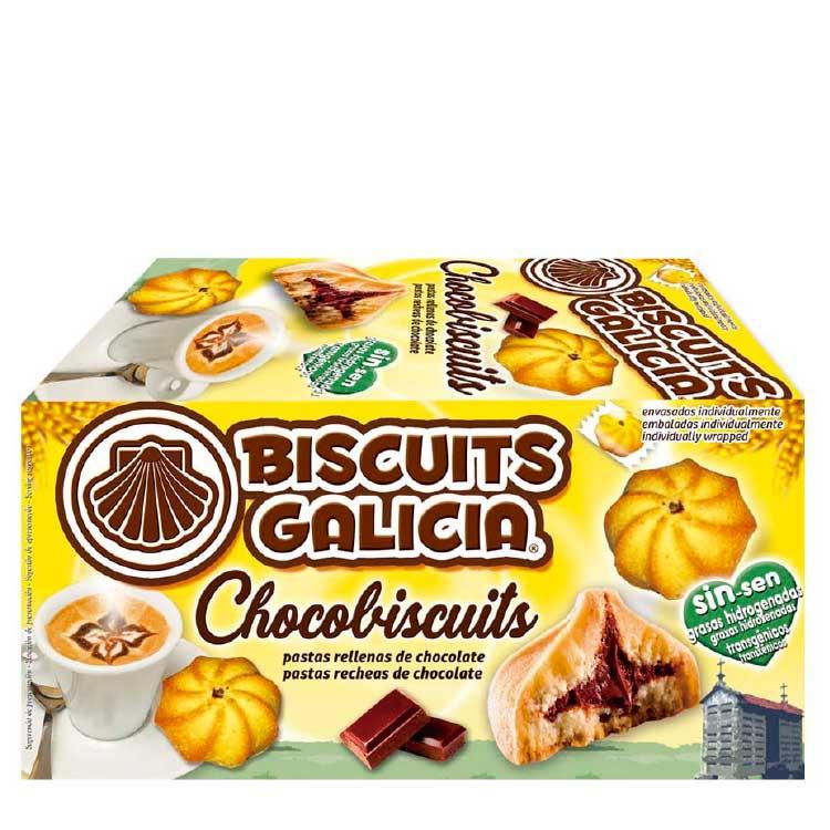 galleta envasada individualmente rellena con chocolate café merienda desayuno Biscuits Galicia