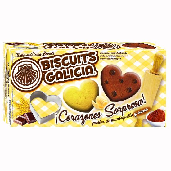 galletas envasadas individualmente corazon chocolate mantequilla regalo merienda desayuno Biscuits Galicia