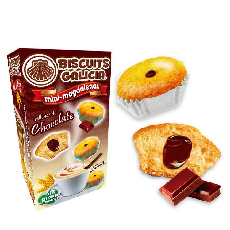 mini-magdalenas rellenas de chocolate Biscuits Galicia café hostelería cortesía