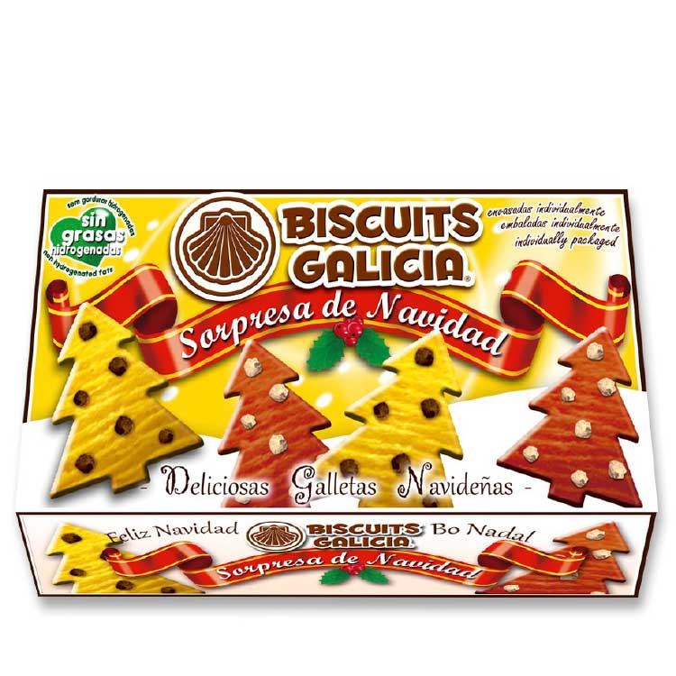 galleta envasada individualmente con pepitas de chocolate café merienda desayuno Biscuits Galicia navidad